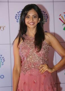 Actress Rakul Preet Singh Latest Pictures in Long Dress at Memu Saitam Dinner with Stars Red Carpet 15