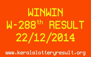 WINWIN Lottery W-288 Result 22-12-2014