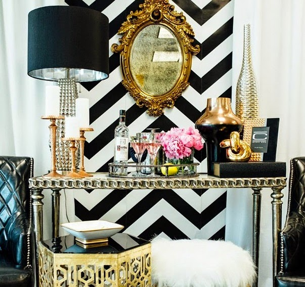 Bedroom And More In Black And White Chevron Print Stripes And The Black And White Theme Incorporated Onto The Walls Floors Furniture And Home Decor