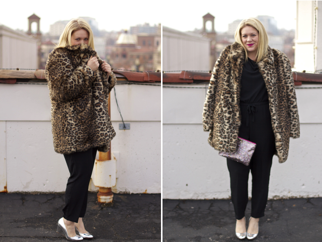 how to style a leopard coat for a work party