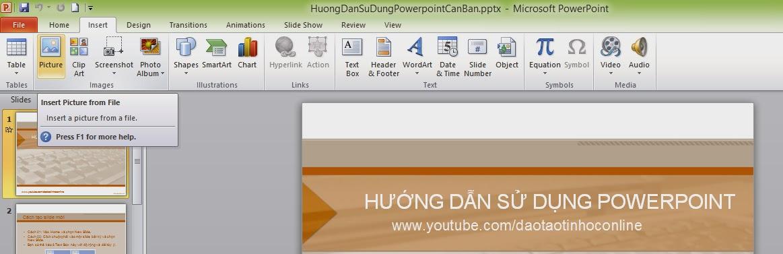Insert: Cho phép chúng ta thêm các đối tượng mà PowerPoint 2010