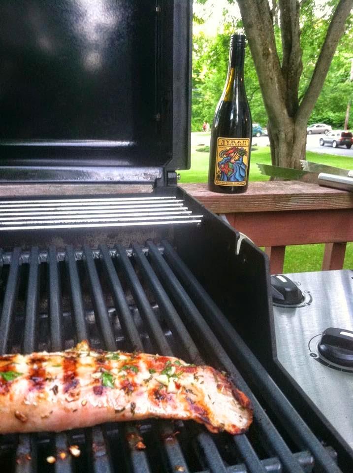 Bonny Doon Syrah awaits the grilled pork tenderloin.