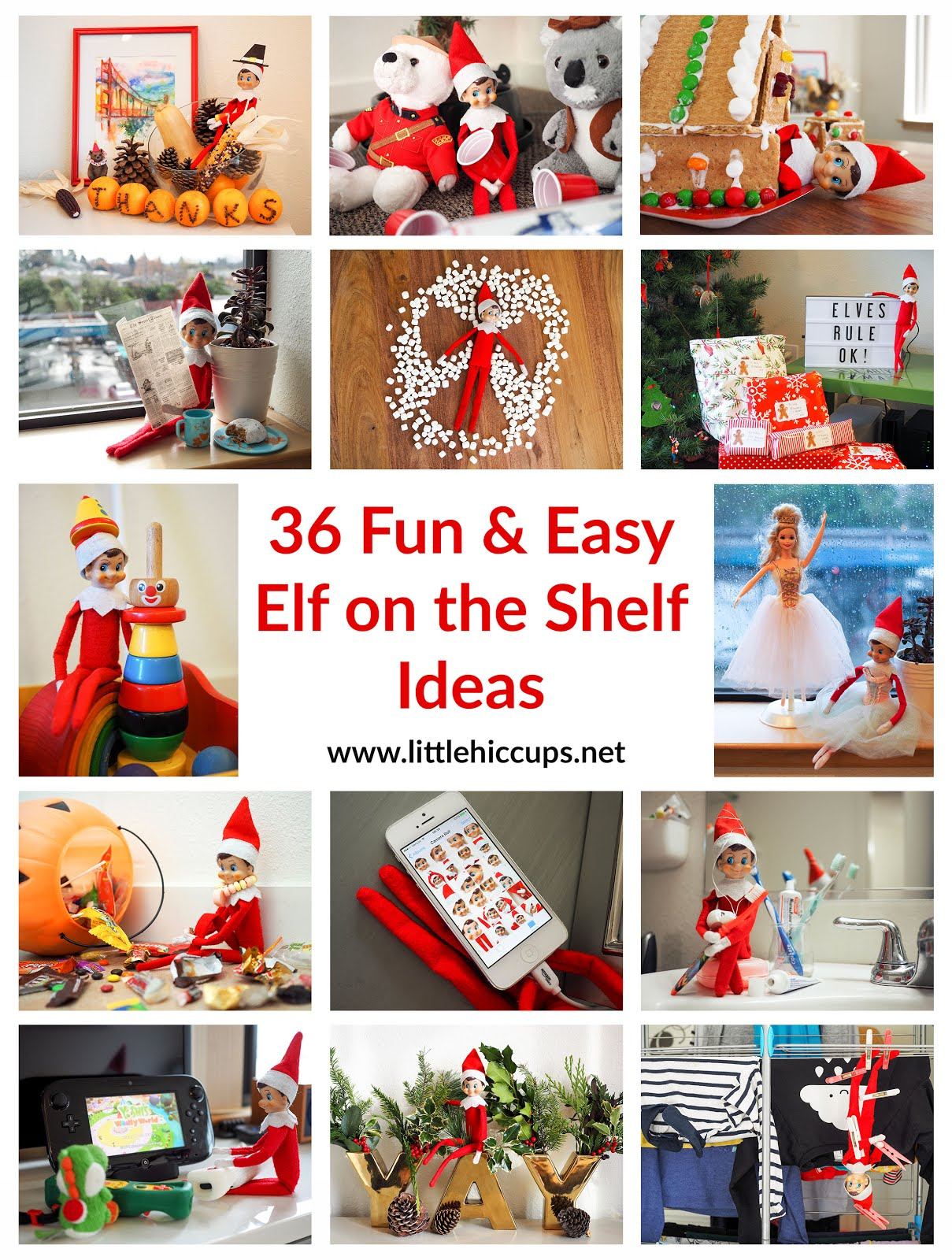 36 Fun & Easy Elf on the Shelf Ideas