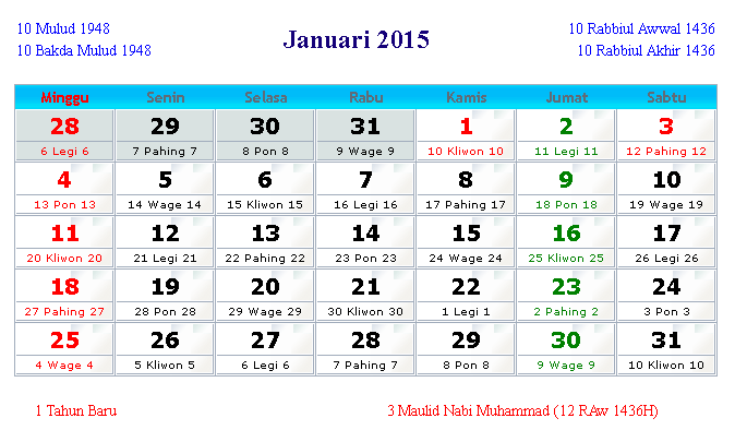 Kalender Januari 2015 Indonesia dan Hari Peringatan | Kalender ...