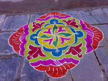 Sankranti Rangoli Designs with Colours, Sankranti telugu muggulu