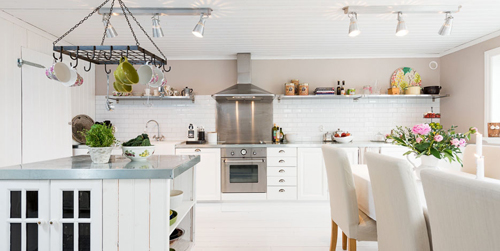 Bright Swedish Kitchen Dining Room