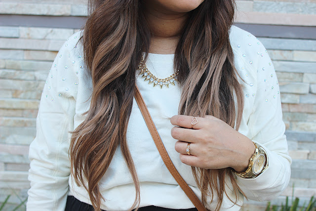 lucky loves, ombre hair, heart ring, guess watch, spike necklace