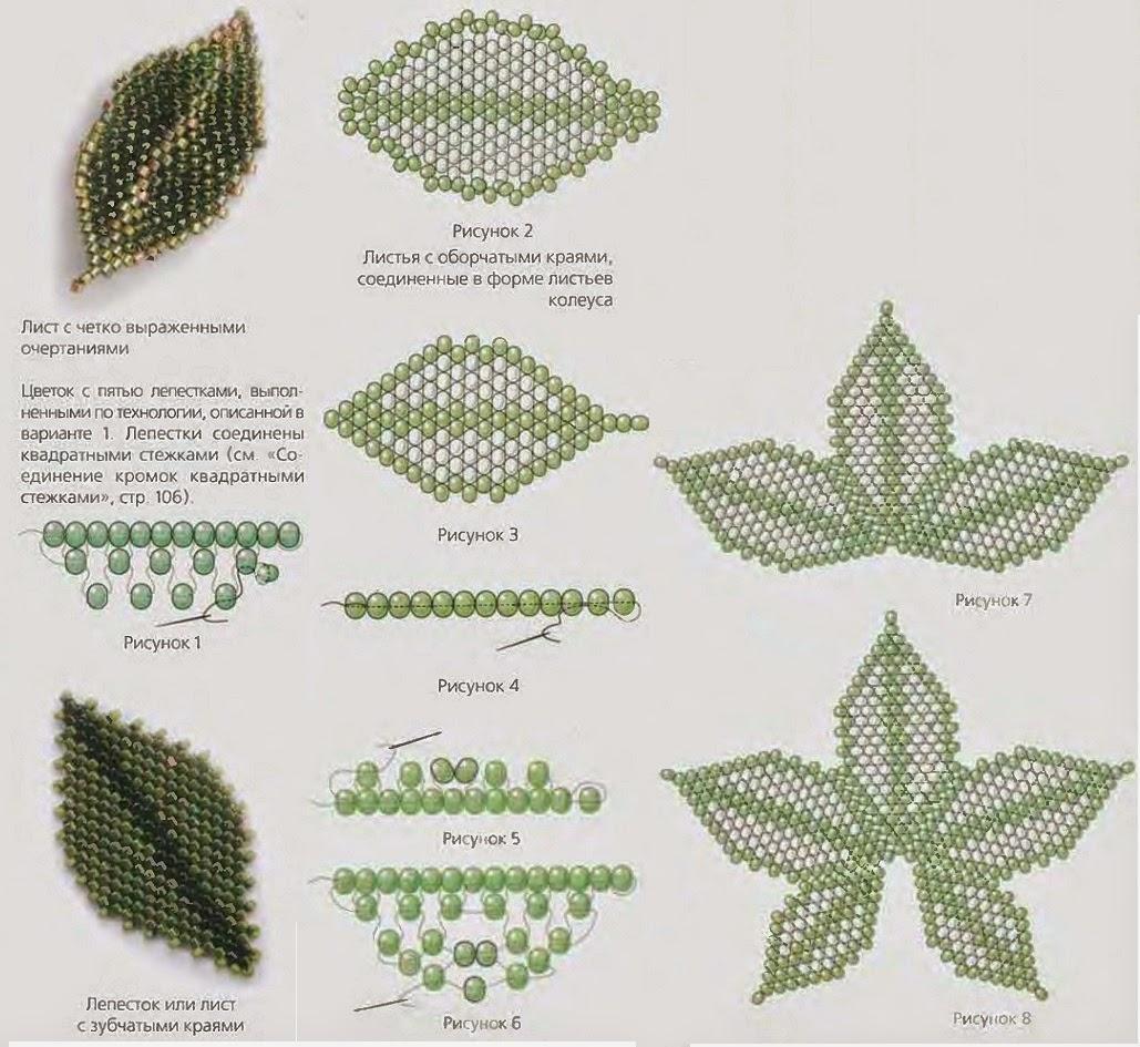 листок из бисера