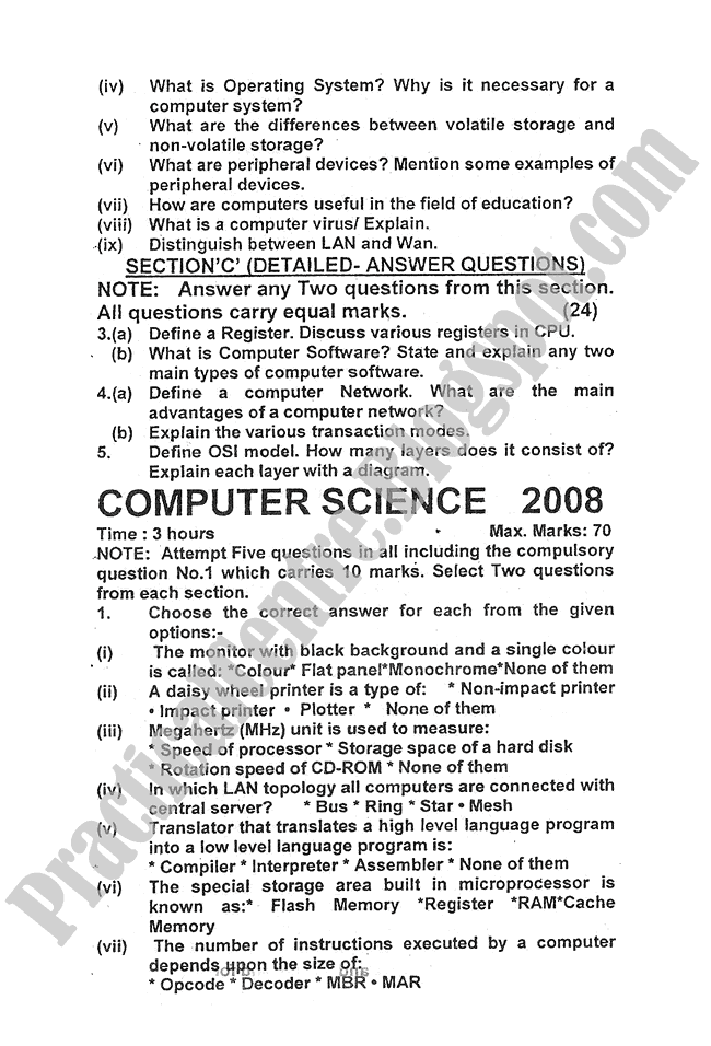 Computer-science-2008-five-year-paper-class-XI