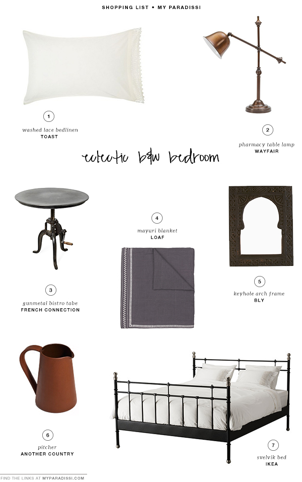 Eclectic b&w bedrooms | Shopping list
