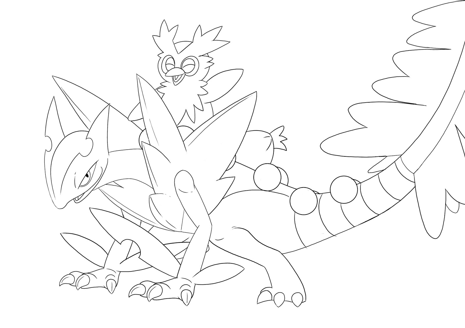 Mega Sceptile Pokemon Coloring Pages Sketch Coloring Page