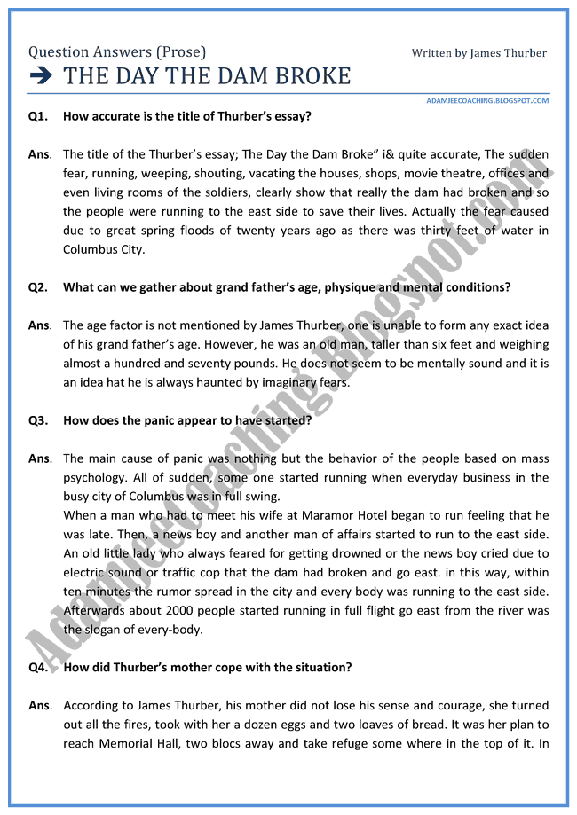 English XII - The Day The Dam Broke - Question Answers Prose