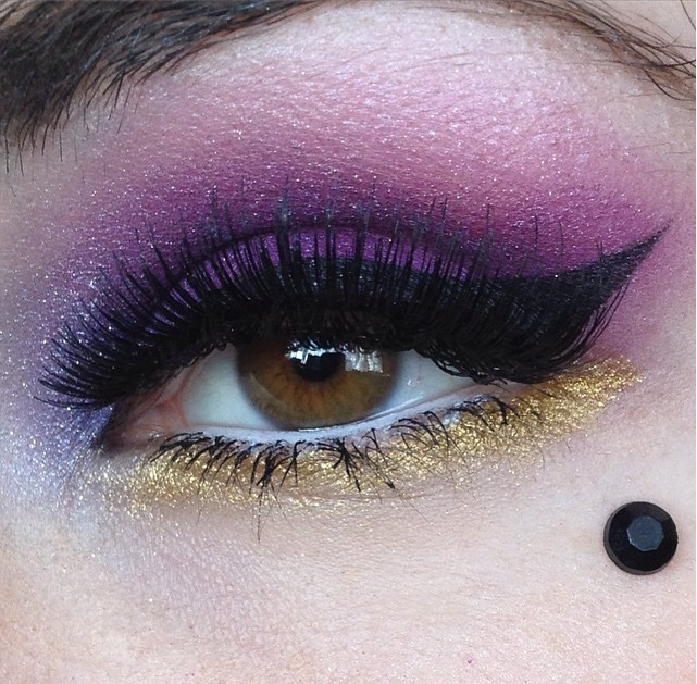 make up eye eotd gold glitter sugarpill chromalust loose eyeshadow goldilux poison plum 2am concrete minerals ravage nyx jumbo eye pencil milk mac time to tango purple glittery hen do party false lashes