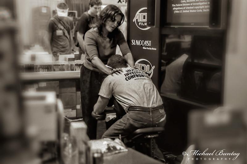 A Friend in Knead, Comic-Con International, San Diego Convention Center, Marina District, San Diego, California. Ilford HP5+ Black and White 35mm negative film. © Michael Buntag