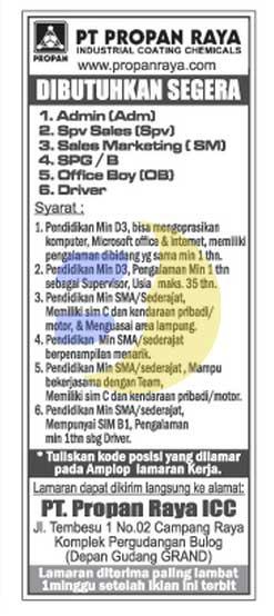 Lowongan Kerja Lampung, Senin 09 Maret 2015 di perusahaan PT. Propan Raya Lampung