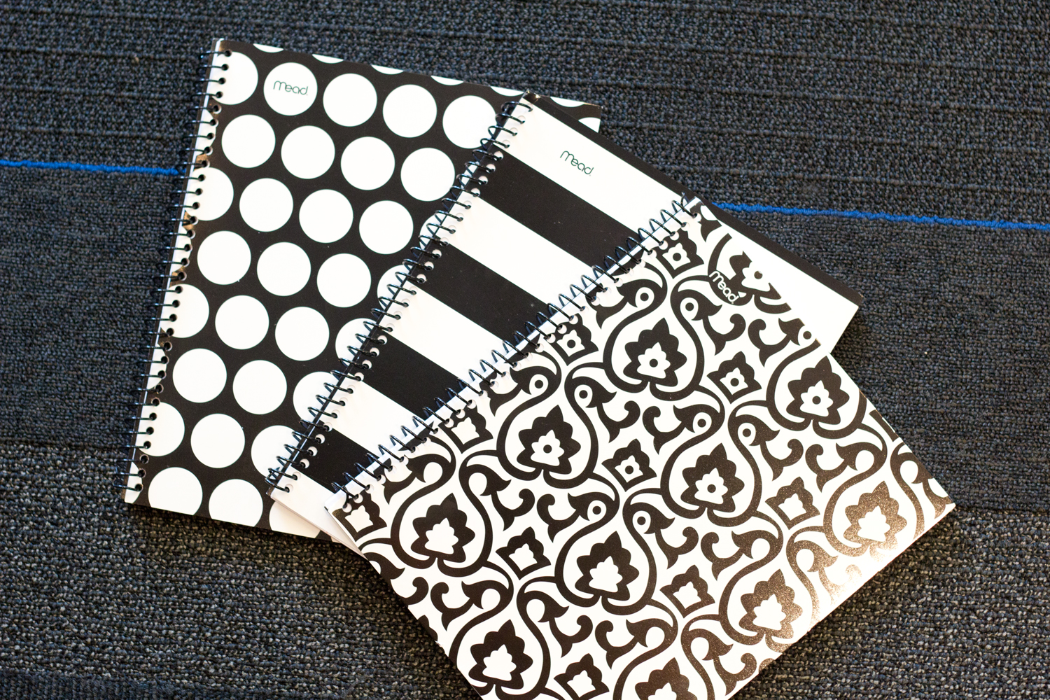 hilroy-notebook, polka-dot, stripes-black-and-white