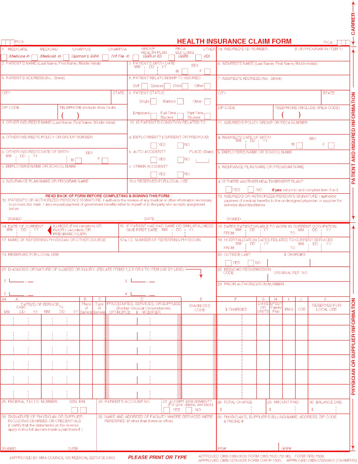 INSURANCE CLAIM FORMS, aka the HCFA-1500