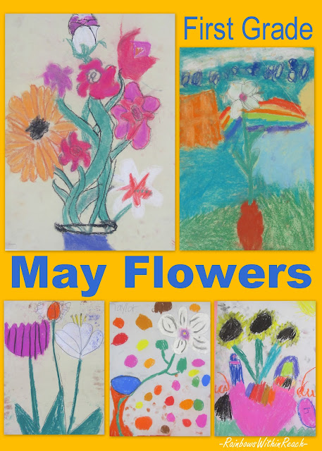 photo of: Pastel Flower Drawings by First Graders