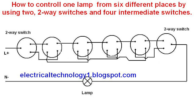a lamp is controlled from six different places by using two, 2-way switches and four intermediate switches.