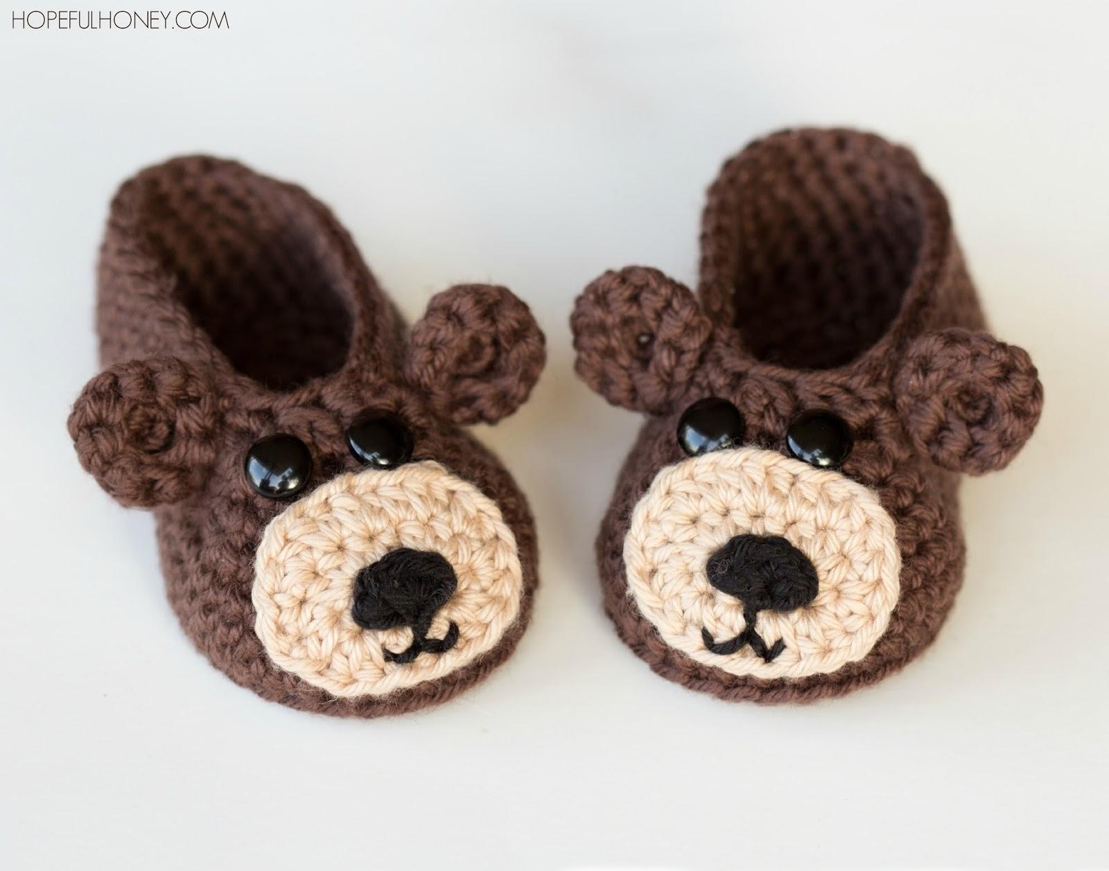 Crochet Baby Bear Booties Pattern : Hopeful Honey Craft, Crochet, Create: Teddy Bear Baby ...