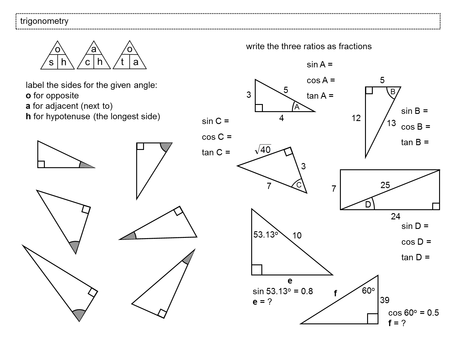 Printables Basic Trigonometry Worksheets trigonometry in right angled triangles miss norledges storeroom label