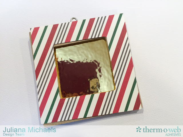 Altered Wood Frame Christmas Ornaments Tutorial featuring Therm O Web Deco Foil and Photo Play Dear Santa by Juliana Michaels