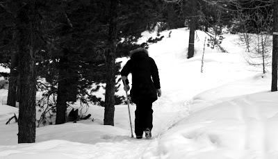 walking in forest with crutch after injury-use protection