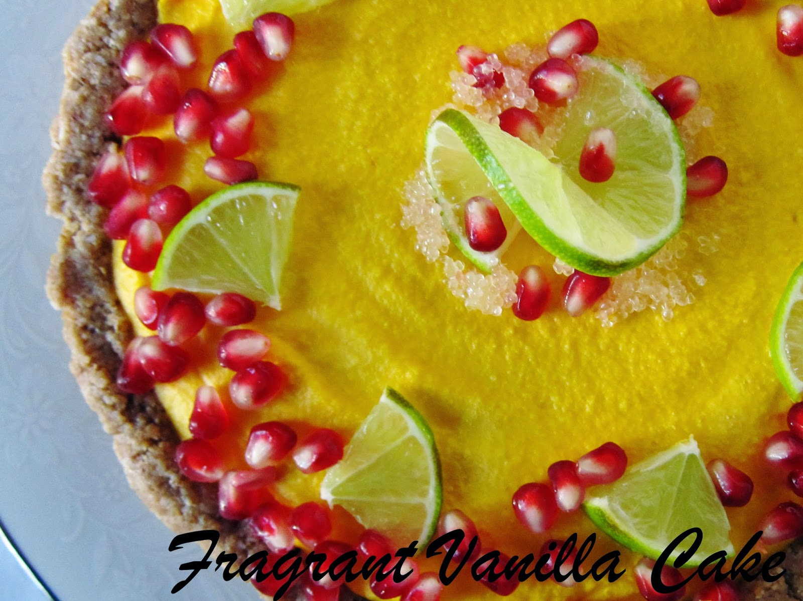 aw Sweet Potato Ginger Lime Tart with Pomegranate Seeds