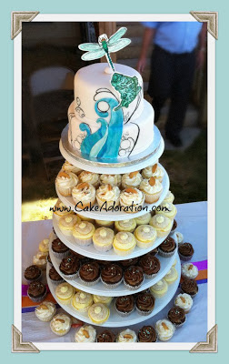 Waves And Bubbles Wedding Cake With A Fishing Firefly Twist The Gourmet Cupcake Flavors Were Banana Cream Pie Lemon Supreme German Chocolate