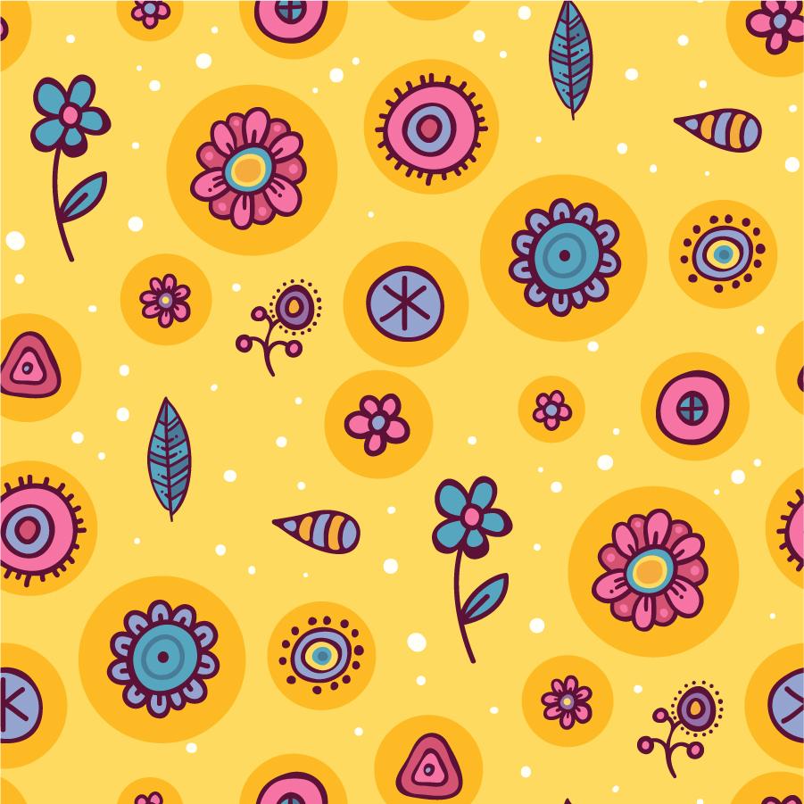 落書きふうの花の背景 Cartoon pattern background イラスト素材
