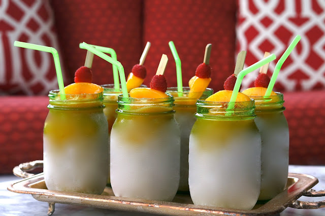 Frozen Peach Daiquiris, raspberries, dinner party, tennessee food and travel blog