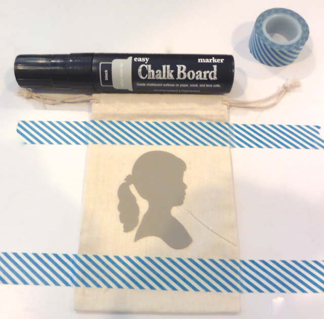 SRM Stickers Blog - Graduation Chalked Muslin Bags by Annette - #markers #chalkboard #EASYchalkboard #stickers #graduation, #giftbag #fluorescent