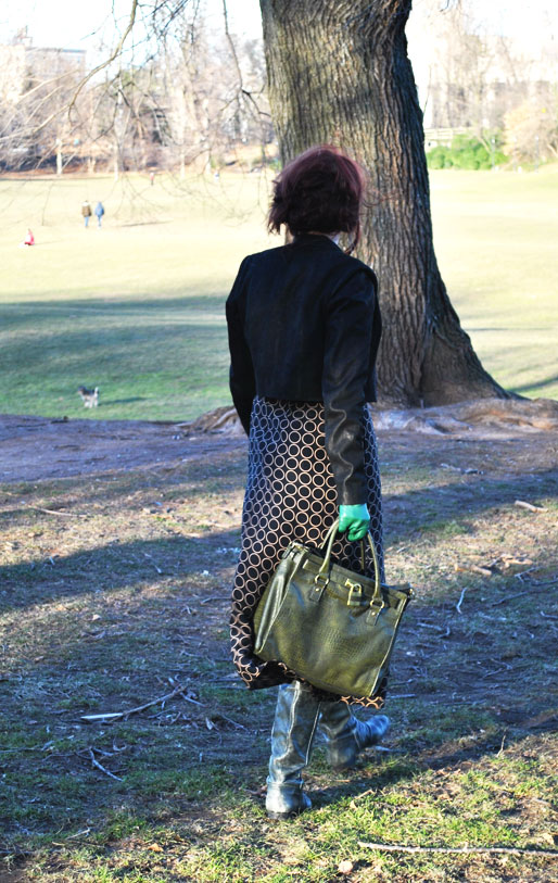a style of your own blog, green leather gloves, TJ Maxx handbag, thrifted, TJ Maxx boots, H&M,