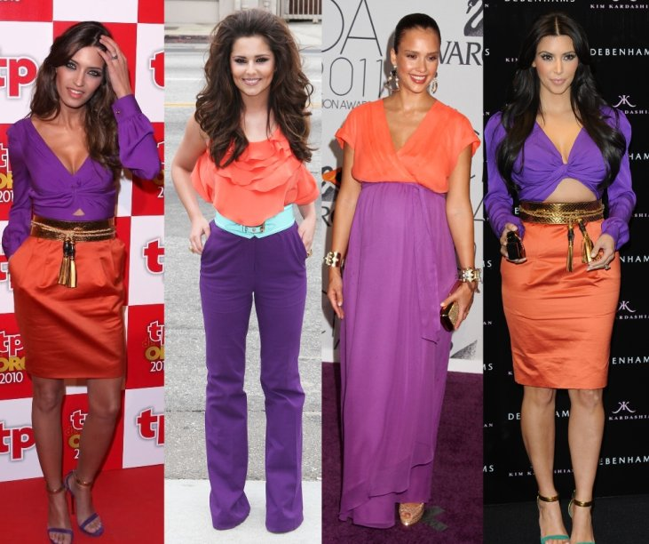 Celebrities wearing fashion's latest colour block trend ...