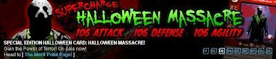 Halloween Massacre card at Superhero City banner