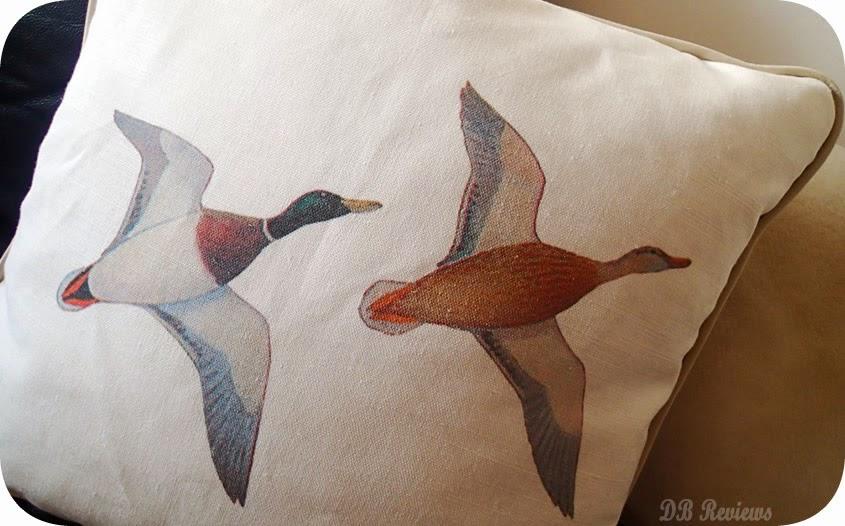 Vintage Mallard Ducks Linen Cushion.