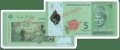 Wang polimer RM5 ada lambang burung Kenyalang
