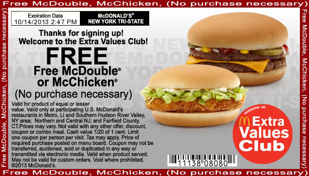 Print out coupons for McDonald's. BeFrugal updates printable coupons for McDonald's every day. Print the coupons below and take to a participating McDonald's to save.