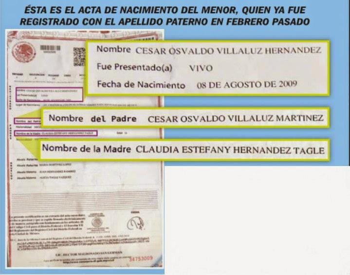 Acta de nacimiento del hijo de César Villaluz