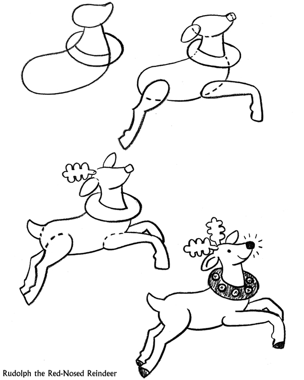 Gallery For gt How To Draw A Reindeer Face Step By