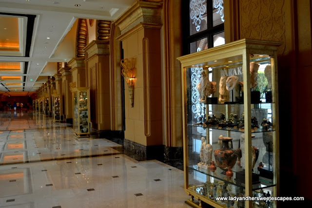 Ancient pieces inside the golden cupboards at the Emirates Palace Abu Dhabi