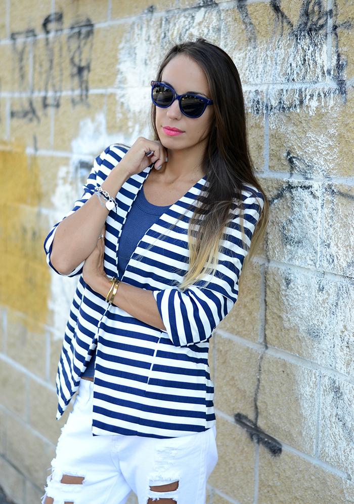 giacca righe bianco blu