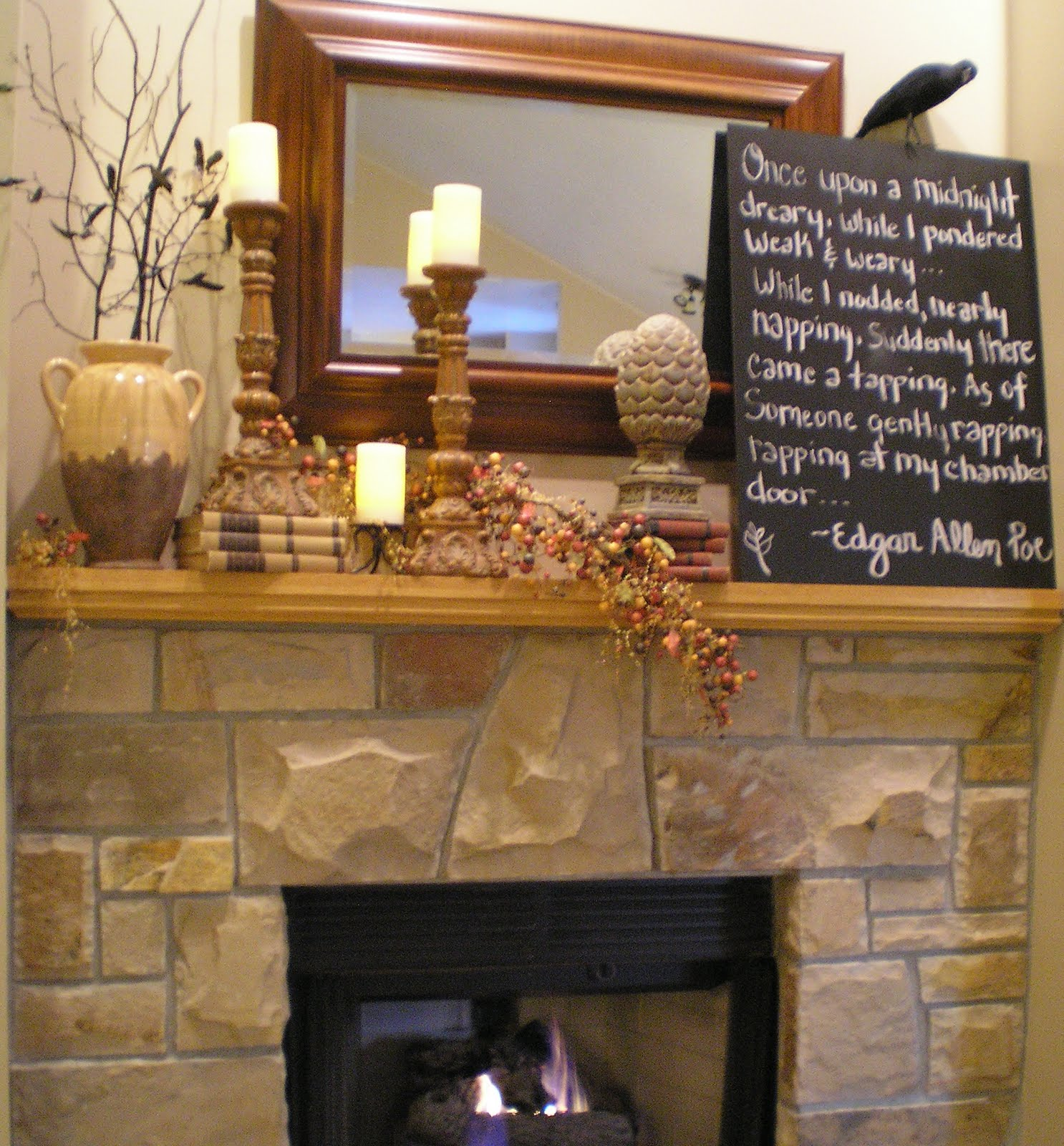 Wip blog autumn mantel decor ideas for Fire place mantel ideas