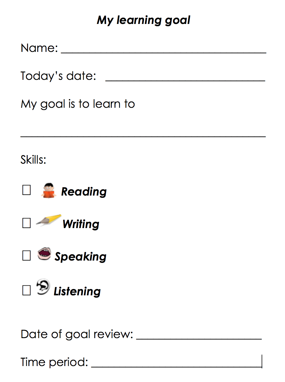 Worksheets Goal Worksheet For Students teach2learnesl goal setting for learning management in adult esl literacy