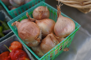 Shallots and Peppers from Shamba Farms at the West End Farmers Market taken by Knerq