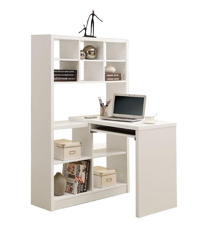 White Corner Computer Desk with Hutch