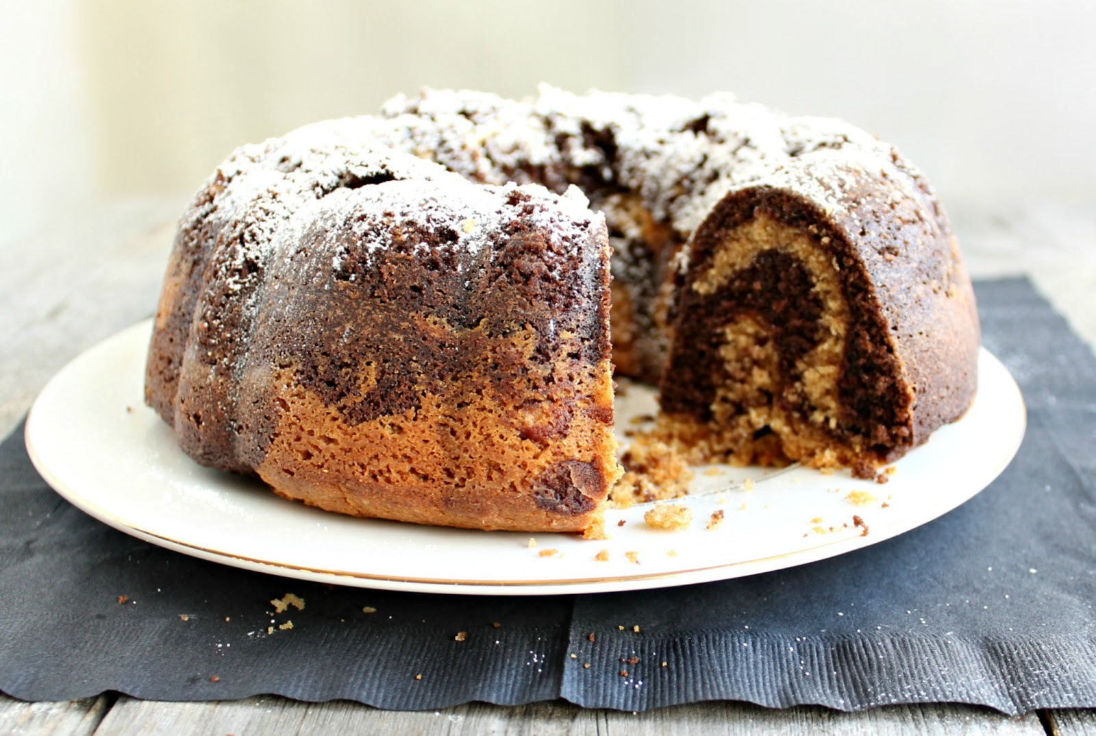 ... complete peanut buttery deliciousness of this properly swirled cake
