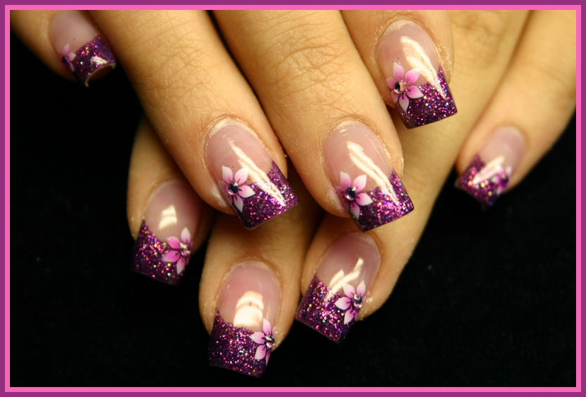 Gel nail designs with glitter