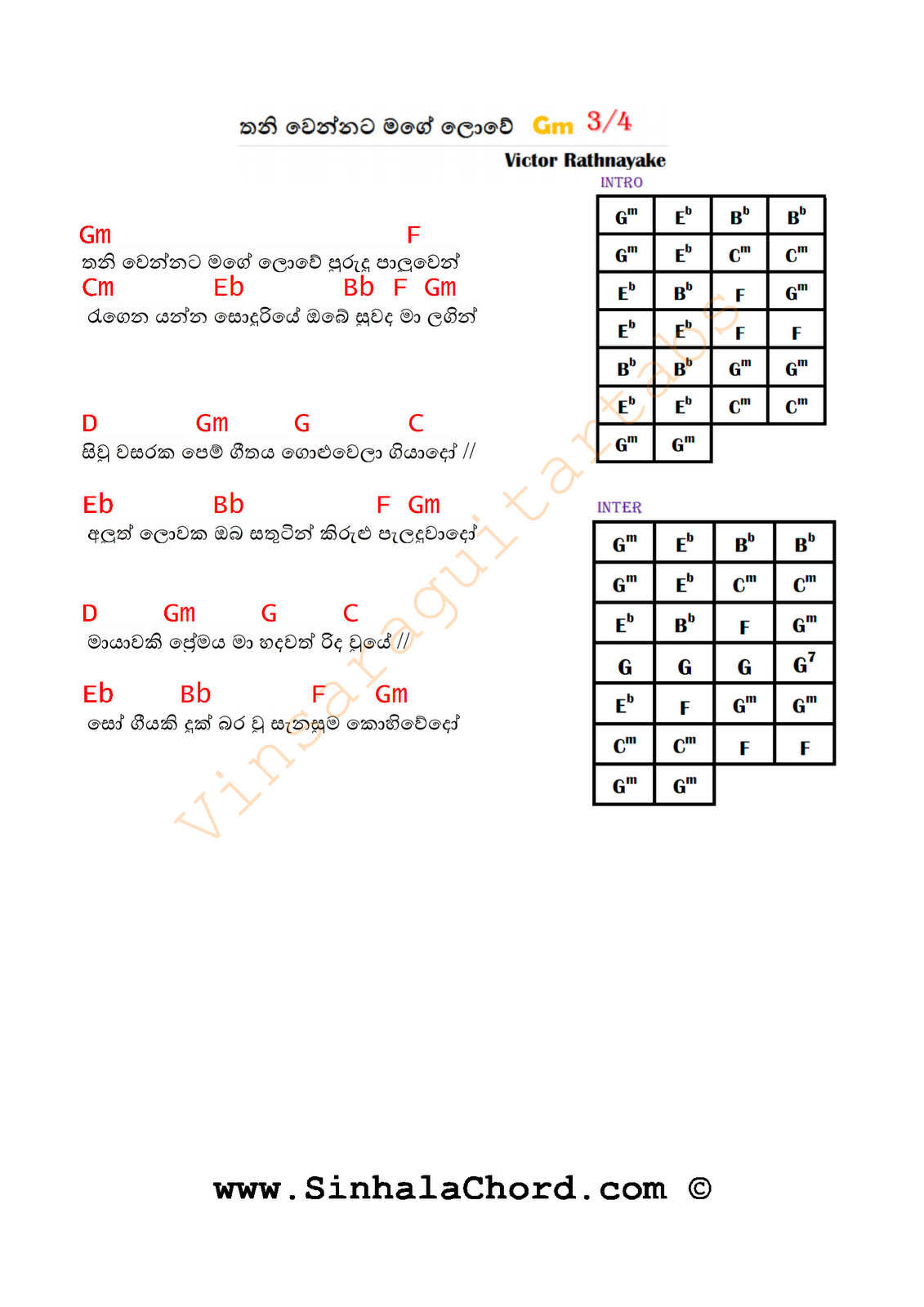 Thaniwennata Mage Lowe Guitar Chords Sinhala Guitar Chordssinhala