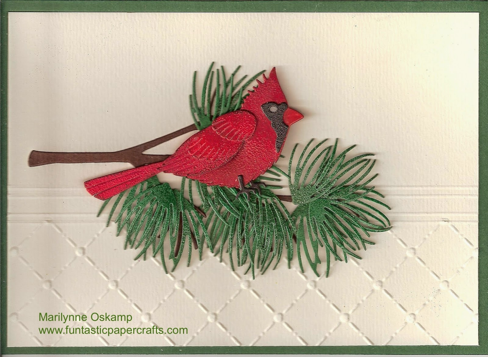 Funtastic Paper Crafts Cardinal On A Pine Branch